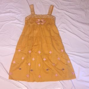 Mustard colored Madewell embroidered midi dress